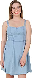 Petipack Women's Slim Fit Dress (PP043, Sky Blue, Medium)