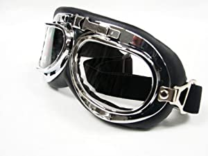 XYZCTEM®WWII RAF Aviator Pilot Motorcycle Half helmet Goggles Flying Motorcycle Biker Motocross Cruisers Sun UV Wind Eye Protect by XYZCTEM