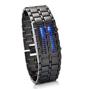 Military Style Blue Mens LED watch - Futuristic super cool mens wristwatch - ideal alienware accessory