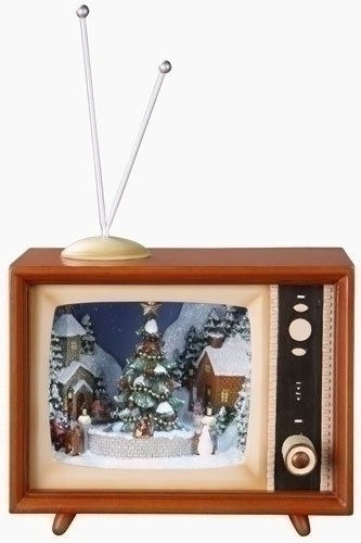 Prelit Art Christmas Trees - 9&quot; Amusements Pre-Lit Retro Musical TV Set with Animated Christmas Village