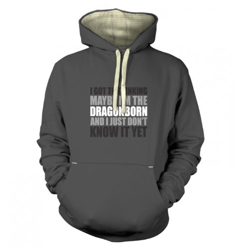 "Gaming Gamer Geek Hoodie - Thinking I'M The Dragonborn Premium Hoodie - Graphite Medium (42"" Chest)"
