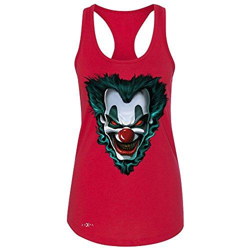 Freakshow Joker Clown Scary Women's Racerback Halloween Eve Costume Sleeveless Red XX-Large