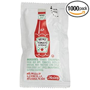 Heinz Single-Serve Packet, Ketchup, 0.32-Ounce Packets (Pack of 1000)