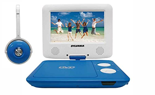 Sylvania SDVD7043-BLWHT 7-Inch Portable DVD Player with Matching Oversize Headphones (Blue) (Portable Dvd Player Kids compare prices)
