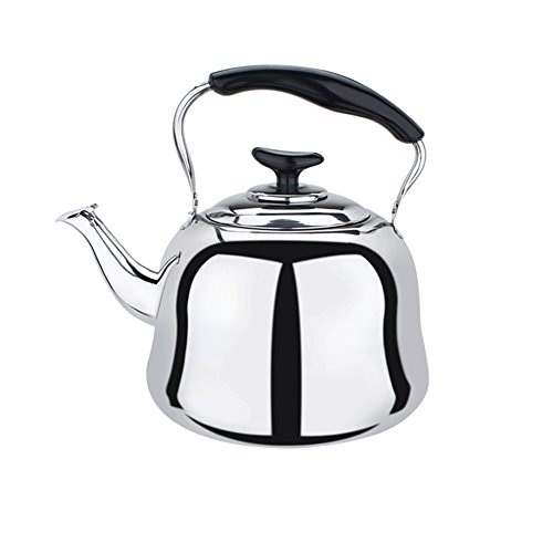 Stainless Steel Whistling Teakettle Teapot Cookware Silver Tone (4L)