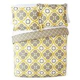 Happy Chic 3pc King Duvet Cover Set Large Moroccan Tiles Quatrefoil Reversible Lattice Yellow Taupe White (King)
