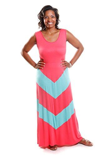 Hadari Women's Plus Size Chevron Maxi Dress