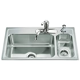 KOHLER K-3347R-4-NA Toccata High/Low Self-Rimming Kitchen Sink