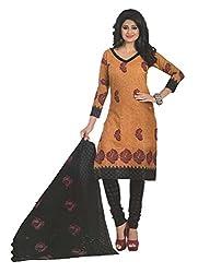 Divisha Fashions Brown and Black Cotton Printed Churiddar Suit with Dupatta