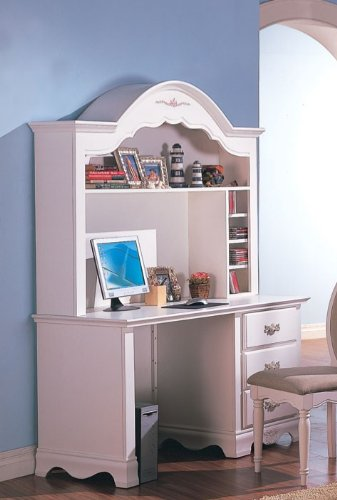 Buy Low Price Comfortable Computer Desk with Hutch Floral Painted in White Finish (B003MBGB2K)