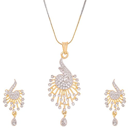 Zeneme American Diamond Gold Plated Pendant Set with Chain for Women