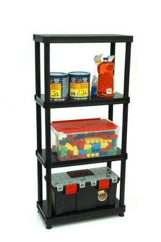 GSC 1224-4SR 4-Level Shelving Unit with Floor Risers, Black (Shelf Unit Plastic compare prices)