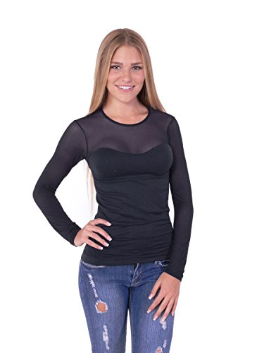 Long Sleeve Stretch Shirt Tank with Mesh Top Fitted Blouse One Size (One Size, Black)