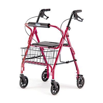 Invacare Value Four Wheel Rolling Walker Rollator Burg/Red