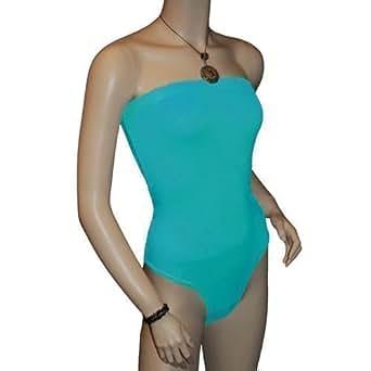 Ladies Strapless Bodysuit Womens Bandeau Tops Turquoise S/M