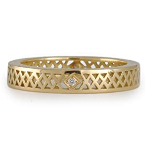 RAY GRIFFITHS- Gold Stacking Ring with Diamond