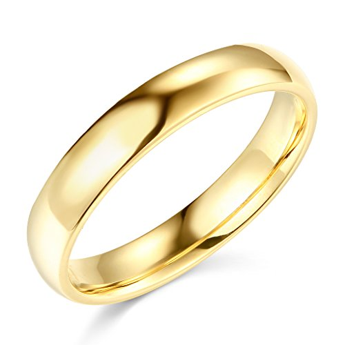 14k Yellow Gold 4mm Plain Wedding Band - Size 11.5
