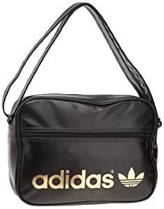 adidas Adicolor Airliner Shoulder Bag - Black/Metallic Gold, 28 x 12 x 38 cm