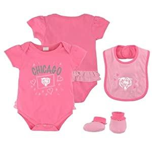 Chicago Bears Pink Newborn Creeper, Bib and Bootie Set by Adidas Select Infant / Toddler / Youth Size: 24 Months