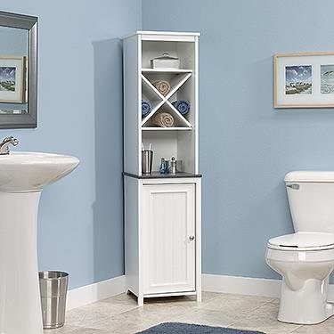 Sauder Linen Tower Bath Cabinet, Soft White Finish