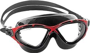 Cressi Planet Anti Fog Premium Swim Goggles Mask (Made in Italy), Black/Red