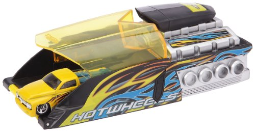 Imagen principal de Mattel C4324 Hot Wheels - Doble súper lanzador para coches en miniatura (incluye 2 coches Turbo Power), color azul y amarillo