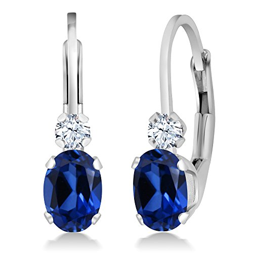144-Ct-Blue-and-White-Created-Sapphire-White-925-Silver-Leverback-Earrings