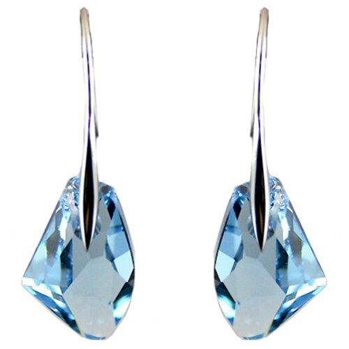 Orecchini in argento con cristalli Swarovski color blu acquamarina