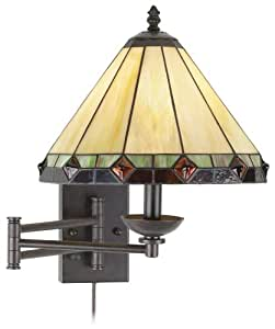 Wall Lamps B And Q : Tiffany Style Glass Panel Plug-In Swing Arm Wall Lamp - Wall Porch Lights - Amazon.com