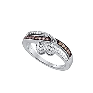 10kt White Gold Womens Round Cognac-Brown Colored Diamond Heart Love Fashion Band Ring (.25 cttw.)