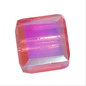SWAROVSKI ELEMENTS Crystal #5601 4mm Cube Beads Indian Pink AB (10)