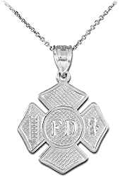 925 Sterling Silver St Florian Medal Firefighter Badge Pendant Necklace