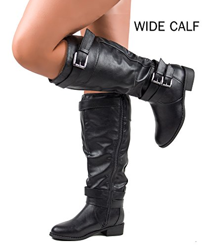 ROF Madison-21 Wide Calf Riding Boots (Black PU Size 9 )