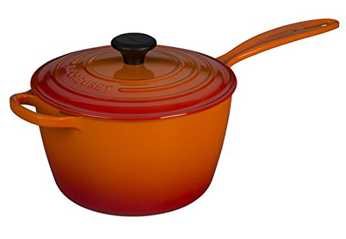 Le Creuset LS2518-202 Signature Cast Iron Sauce Pan, 3.25-Quart, Flame