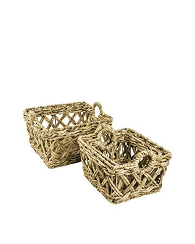 My Spirit Garden Set of 4 Water Hyacinth Entwined Baskets, Golden Wheat