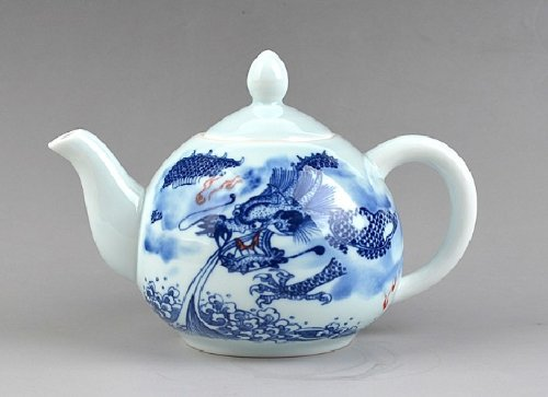 Jingdezhen Blue And White Paintings Dragons Porcelain Teapot With Lid