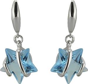 Boucles d'Oreilles Femme - Argent 925/1000 - 2.30Gr - Oxydes de Zirconium Etoiles Bleues - 50931