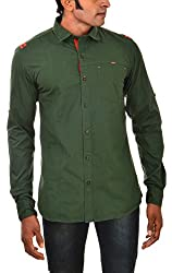 Indipulse Men's Casual Shirt (IF1151101B, Green, XL)