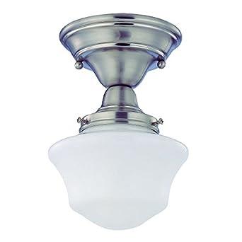 6 inch schoolhouse semi flushmount ceiling light in satin. Black Bedroom Furniture Sets. Home Design Ideas