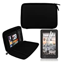 Black 7 Inch EVA Hard Shell Cover Case + LCD Screen Protector for Coby MID7012 7-Inch Kyros Android Touchscreen Tablet from Skque