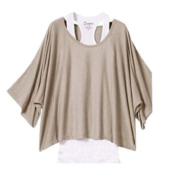 Daditong Femme 2 en 1 Tops Débardeur Basique + T-Shirt Pull en Jersey EU Taille 36-44 (M, Café)