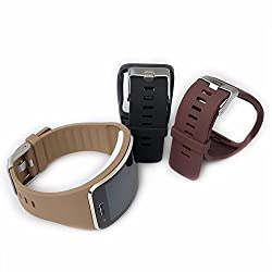 Moretek Wirst Band for Smasung Galaxy Gear S Watch Sport Wireless Replacement (Black/brown/coffee pack of 3)