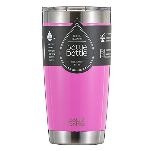 BottleBottle 20 oz Vacuum Insulated Tumbler Cup - Double Wall Stainless Steel Travel Mug - Sweat Free Coffee Cup with Clear Lid - Shiny Cherry Pink (Coffee Cup Metal Bottom compare prices)
