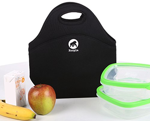 Hoopla Gorilla Bag - Deluxe Insulated Lunch Carrier - Special Offer - NOW JUST $13.95 - Black Neoprene Tote for Work, School and Kids Snacks - Keeps Contents Cool, Fresh and Secure. Lightweight, Machine Washable, Stores Flat but stretches to hold the biggest of lunches.