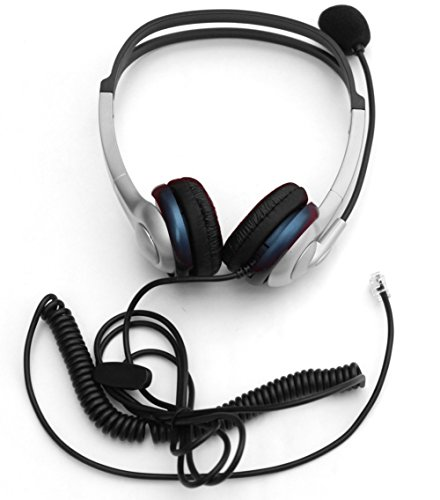 Voistek corded binaural call center telephone headset rj9 headphone with mic noise cancelling - Phone headsets for office ...