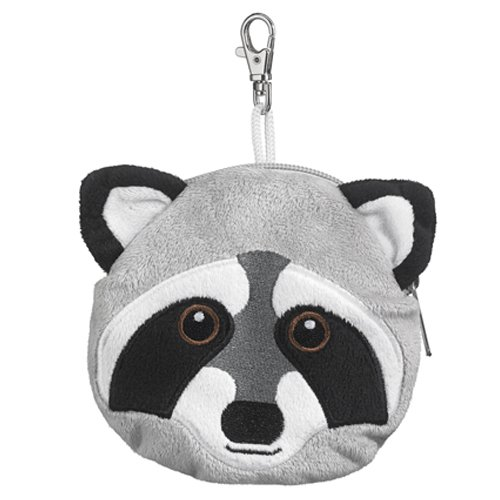 Raccoon Stuffed Animal Plush Pouch Purse Animal Case Clip on Bag Animal Zipper Pouch Wallet Bag