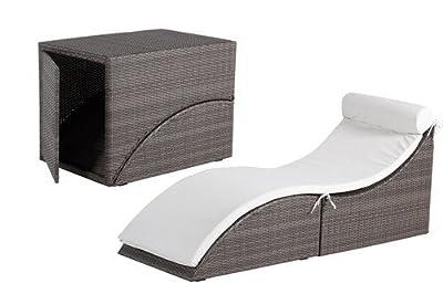 Bentley Garden Collapsible Foldable Rattan Sun Lounger Sunlounger - Brown & Beige