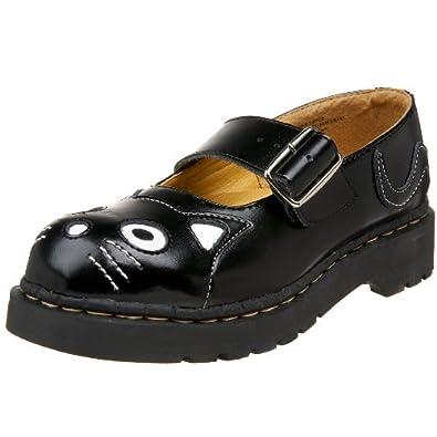 T.U.K. Women's Cat Mary Jane Flat,Black Leather,5 M US