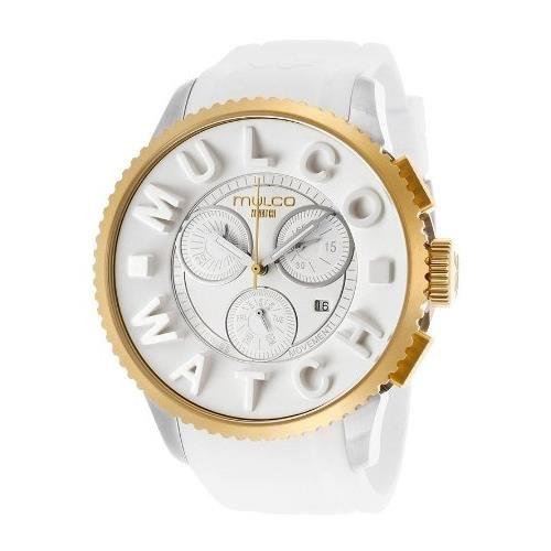 Mulco Homme & Femme 49mm Chronographe Blanc Caoutchouc Bracelet Montre MW3-10302-012