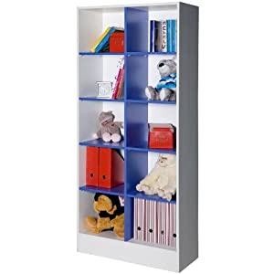 Libreria cameretta a caselle moderna colorata bianco blu for Libreria amazon
